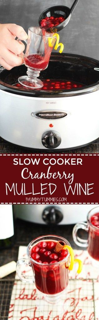 This Slow Cooker Cranberry Mulled Wine is holiday entertainment at its best with Cabernet Sauvignon, apple cider, orange juice, honey, spices and a slash of Brandy.  It will disappear fast!