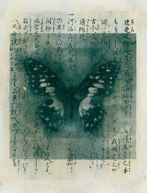 Mixed medium image of a butterfly with Japanese calligraphy