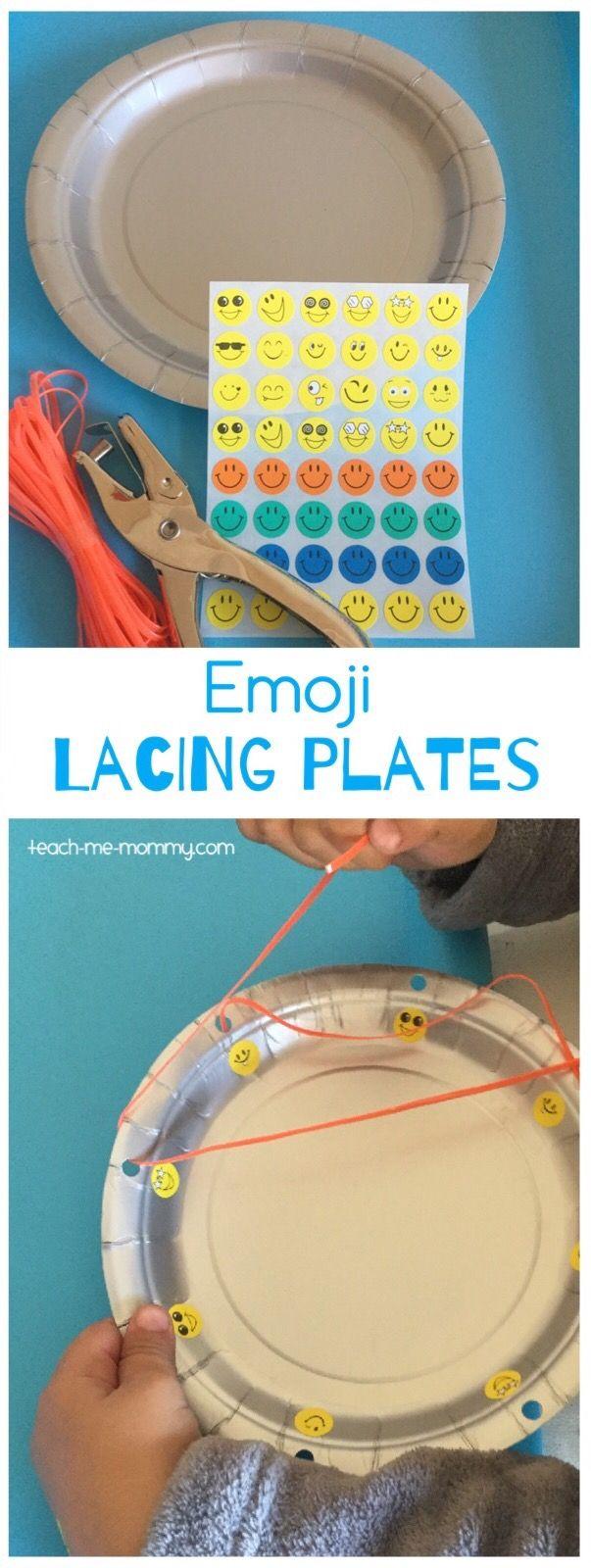 Emoji Lacing Plates Easy to make emoji lacing plates, great for preschoolers' fine motor skills and visual discrimination skills!