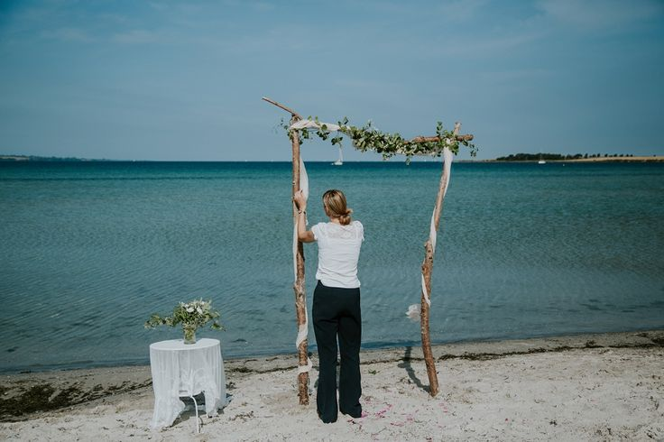 Louise preparing for a sunny wedding day at Vesterstrand
