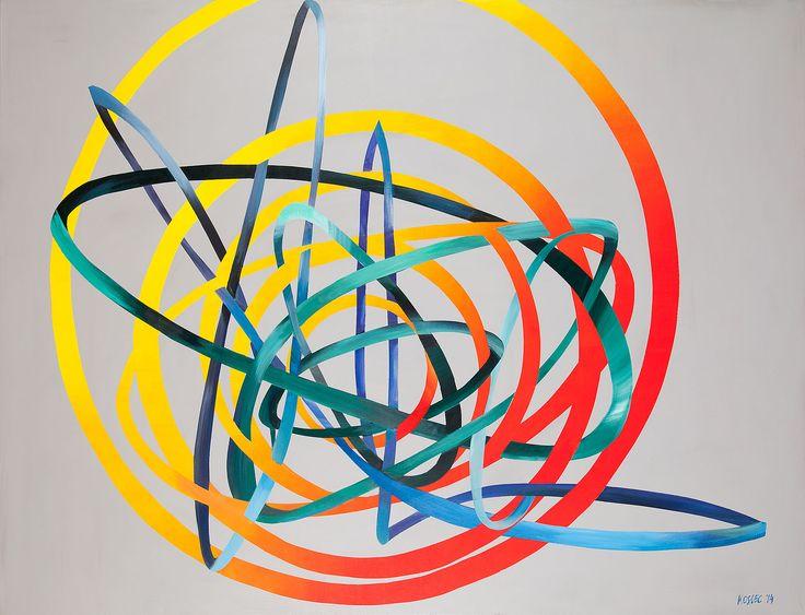 Małgorzata Kosiec, Orbits, 2014, akryl, płótno, 200x150 cm.