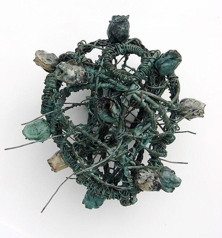 Paul Oberst Blue Bronze 1/Rose Heart, 2012, Copper with cast bronze rose buds, 13 x 13 x 9 inches  Bridgette Mayer Gallery