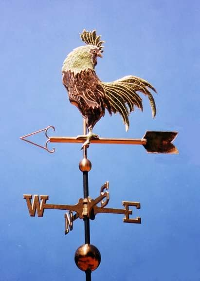 Rooster Weather Vane, Chanticleer, Looking Back by West Coast Weather Vanes.  The Chanticleer Rooster weathervane was made in copper with gold leafed accents. We gilded the beak, neck ruff, and legs. In many Asian cultures, the rooster is a symbol for prosperity and good luck. We recently finished one of these weathervanes as a wedding gift for a couple in Malaysia.