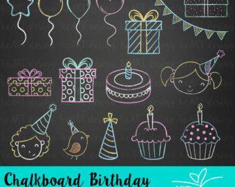 Chalkboard clipart birthday: Digital clip art CHALKBOARD