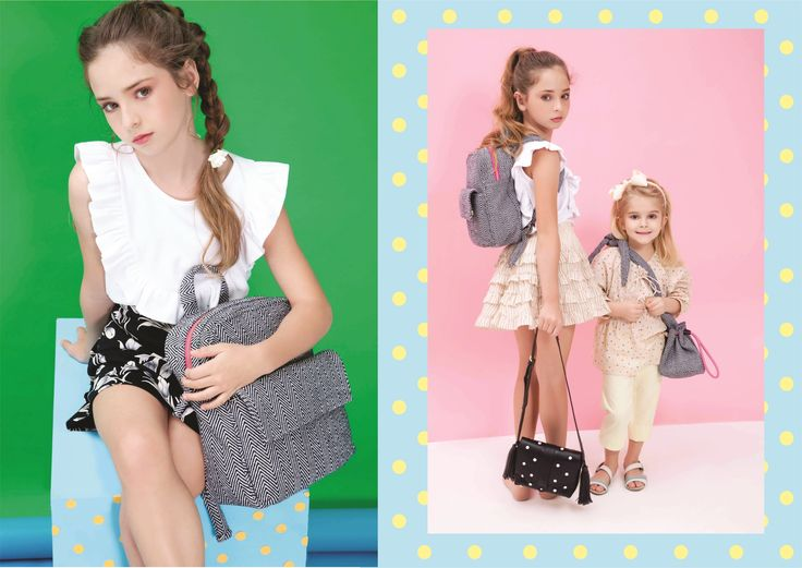 Nita Faco Summer Kids Collection. The backpack and bucket bag were made with brazilian recycled fabric. The little black one is leather.