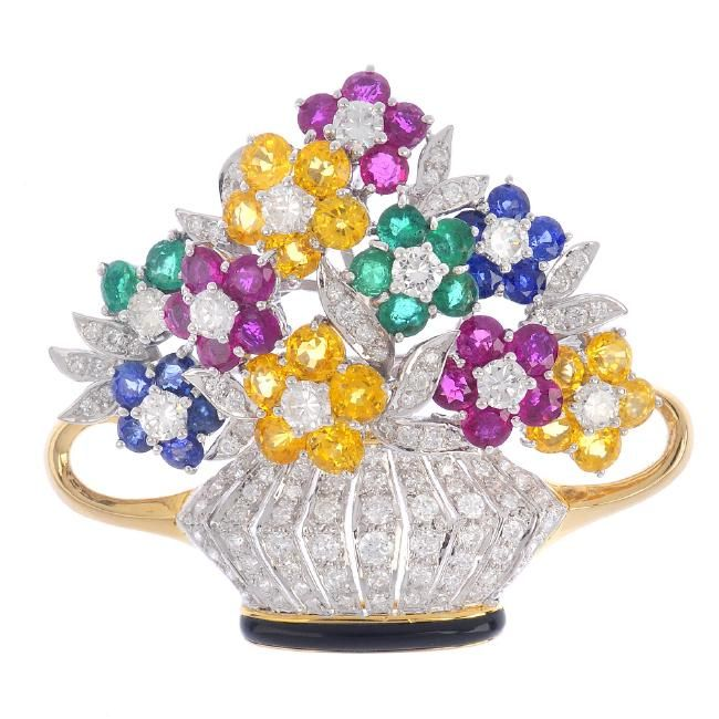 www.liveauctioneers.com item 52002573_a-diamond-and-gem-set-jardiniere-brooch-the
