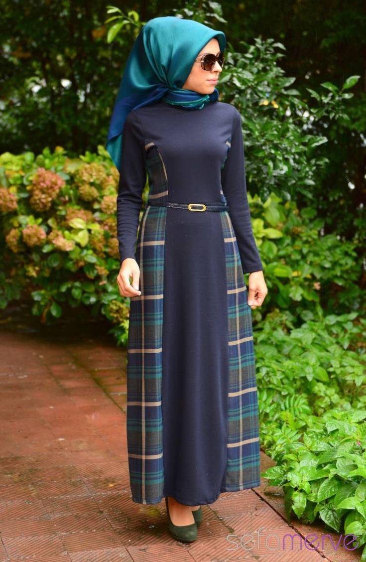Tesettür Elbise WB 5420-02 Lacivert Zümrüt Yeşil