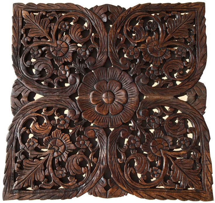 Oriental Home Decor.Large Square Floral Wood Wall Hanging.Rustic Wood Wall  Decor. Carved Wood Wall Art. Decorative Thai Wall Relief Panel Sculpture.
