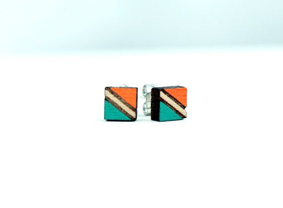 Etched Hand Painted Wood Studs   Square Laser Cut Earrings   Wood Jewelry   Small Earrings