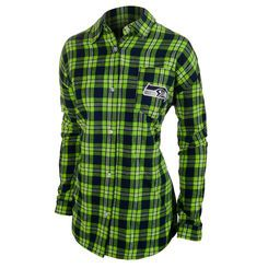 Women's Klew College Navy/Neon Green Seattle Seahawks Wordmark Flannel Long Sleeve Shirt
