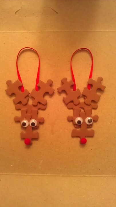 Puzzle Piece ReindeerBrown Painting, Christmas Homemade Ordaments, Ideas, Christmas Ordaments, Lights Brown, Hot Glue Guns, Puzzles Piece, Homemade Ordaments Christmas, Ordament Crafts For Kids