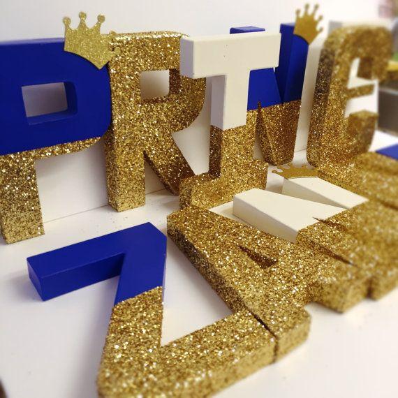 Prins brieven koningskroon Koninklijke glitter brieven gouden glitter kroon glitter brieven glitter gedimde brieven koning brieven alleen één letter door Ajobebe