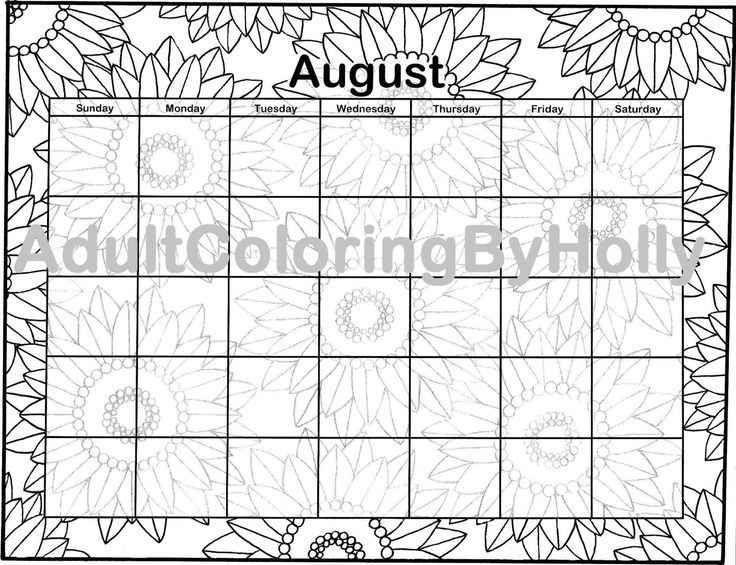 Adult Coloring Book Page Printable Digital Download August Calendar Sunflowers By AdultColoringByHolly On Etsy