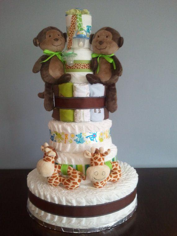 Twin Diaper Cake  Green and Brown Jungle Theme by SweetCheeksDB, $170.00
