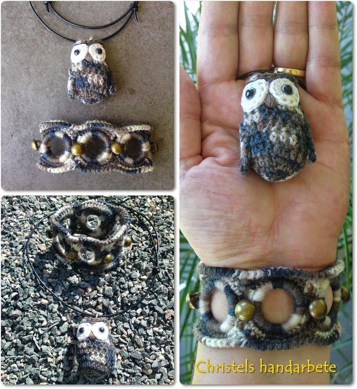 Virkat armband och halsband uggla, Crochet bracelet and necklace owl
