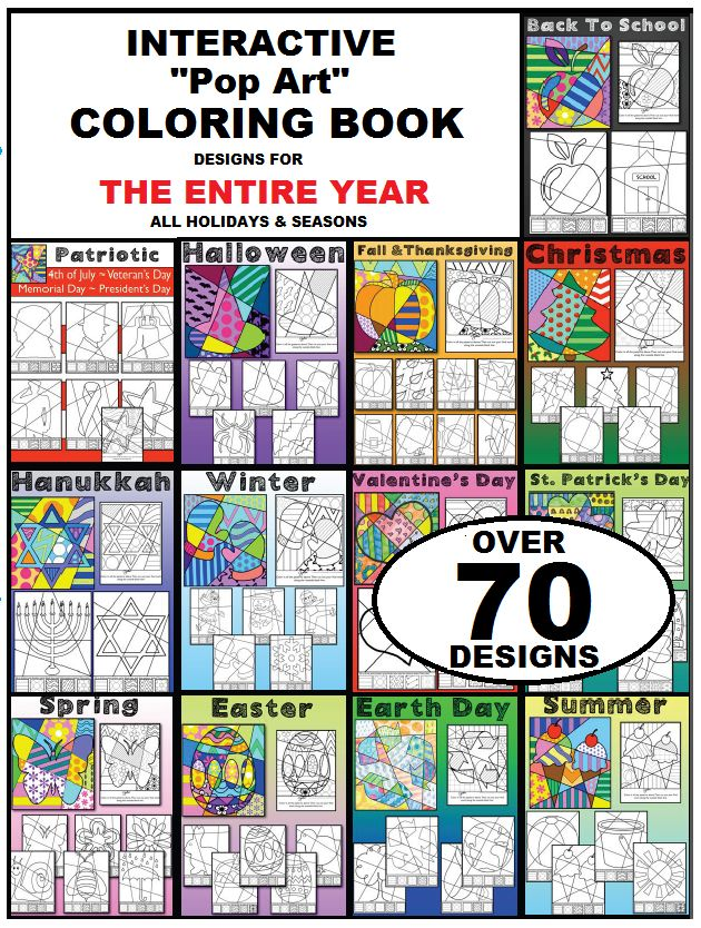 """Fun, """"pop art"""" inspired, interactive coloring sheets for all occasions! Over 70 different designs for all holidays and seasons.   A happy customer writes: """"Love this product. My high school kids enjoy these sheets after finishing a test. It gives them a great """"brain break"""" while allowing them to be creative!"""""""