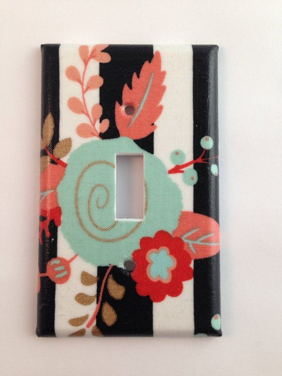 Gold Decor / Light Switch Cover / Coral Mint by COUTURELIGHTPLATES