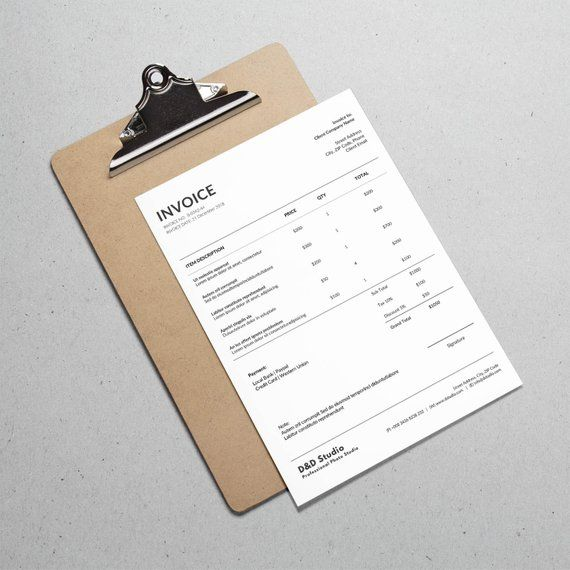 receipt template photography invoice invoice docx bill etsy