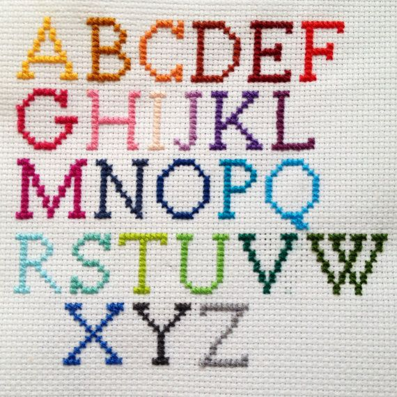Embroidered Cross Stitch Alphabet Necklace on Etsy                                                                                                                                                                                 More