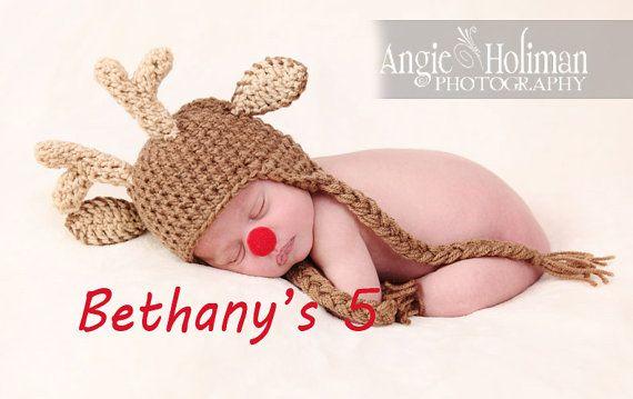 SALE Reindeer Rudolph Christmas crochet animal hat  by Bethanys5, $23.00: Christmas Crochet, Christmas Photo, Crochet Hats, Rudolph Christmas, Christmas Baby, Crochet Animals, Baby Photo, Crochet Animal Hats, Reindeer Rudolph