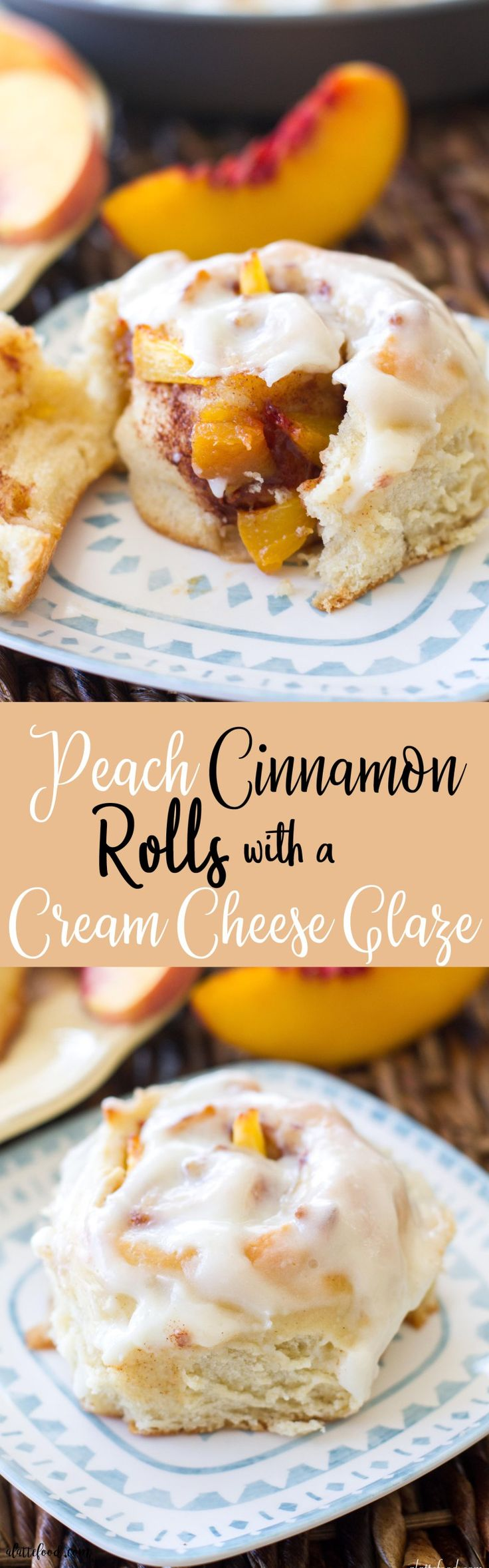 These fluffy, gooey cinnamon rolls are filled with fresh peaches, peach jam, and topped with a rich cream cheese glaze. These peaches and cream cinnamon rolls are love at first bite. Homemade peach cinnamon rolls are the perfect summer breakfast or make ahead breakfast!