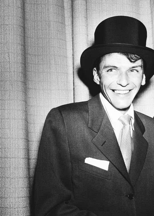 A young Frank Sinatra wearing a top hat, Hollywood, CA, ca.1950s.