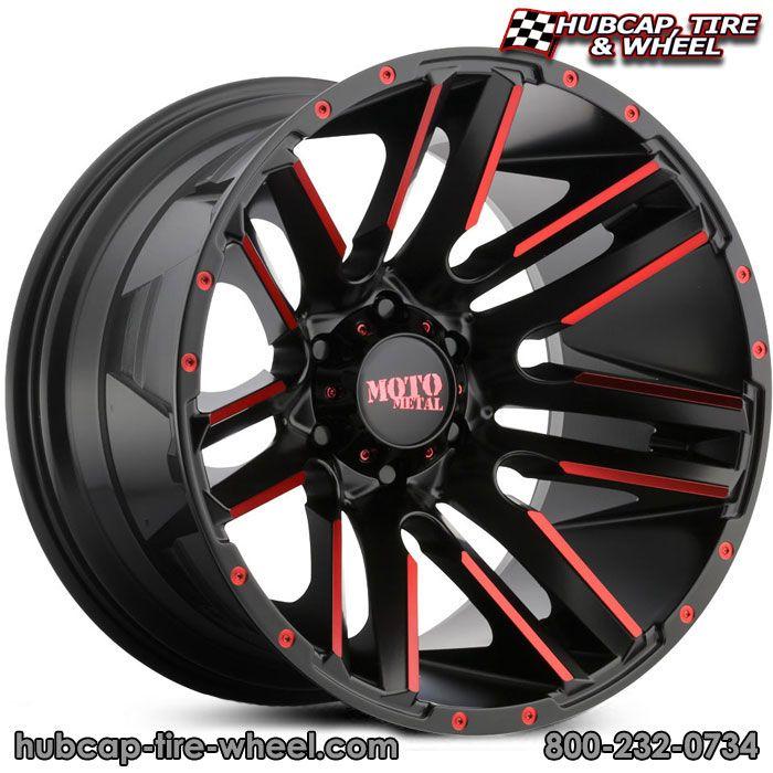 New for 2017! Moto Metal MO978 Razor Satin Black w/ Red Tint Clear Coat Wheels & Rims