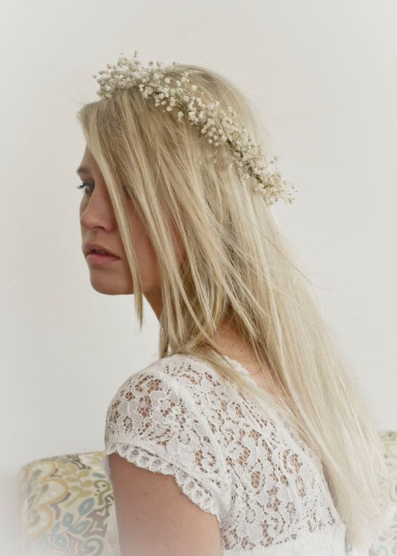 Babys Breath Crown Halo / Hair Wreath Natural Dried Gypsophila Flowers For Bride / Blessingway on Etsy, $55.00