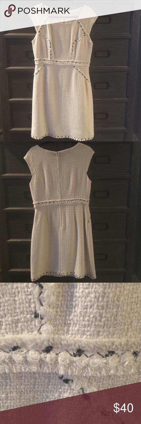 Kay Unger NWOT size 10 white boucle dress Kay Unger NWOT size 10 creamy white boucle sheath dress with black accents. Never worn, but tags have been removed and I no longer have them. Kay Unger Dresses