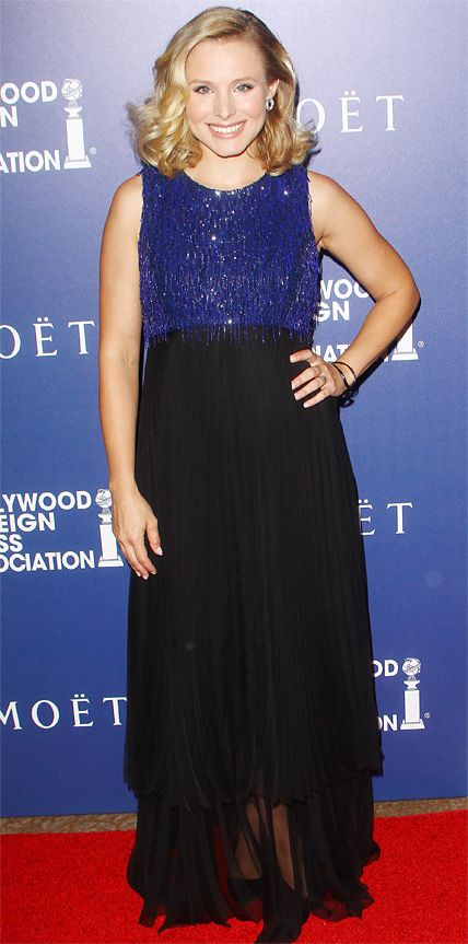 Kristen Bell made a sophisticated appearance at the Hollywood Foreign Press Association's Grants Banquet in an Andrew Gn design with a blue beaded bodice and a sheer black skirt.