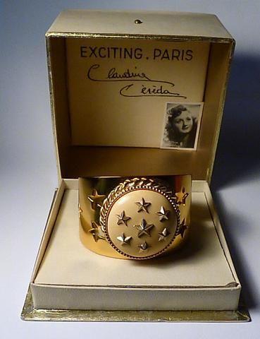 Extremely rare bracelet compact Albert FLAMAND Claudine Cereda EXCITING PARIS promotional compact Claudine Céréda