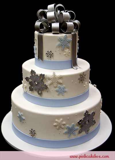 Winter wonderland cakes.. White, silver, and light blue add a touch of