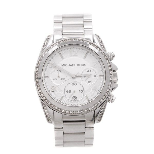 Pre-Owned Michael Kors Stainless Steel 39mm Blair Women's Watch ($160) ❤ liked on Polyvore featuring jewelry, watches, silver, stainless steel watches, party jewelry, stainless steel jewelry, special occasion jewelry and michael kors