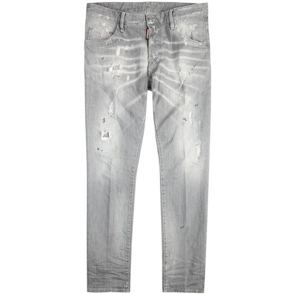 DSQUARED2 Skater Distressed Skinny Jeans - Size W30 ($475) ❤ liked on Polyvore featuring men's fashion, men's clothing, men's jeans, mens faded jeans, men's paint splatter jeans, mens destroyed jeans, mens super skinny ripped jeans and mens skinny jeans