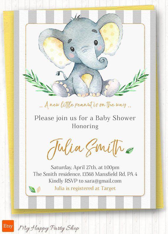 Yellow Elephant Baby Shower Invitation Printable Watercolor