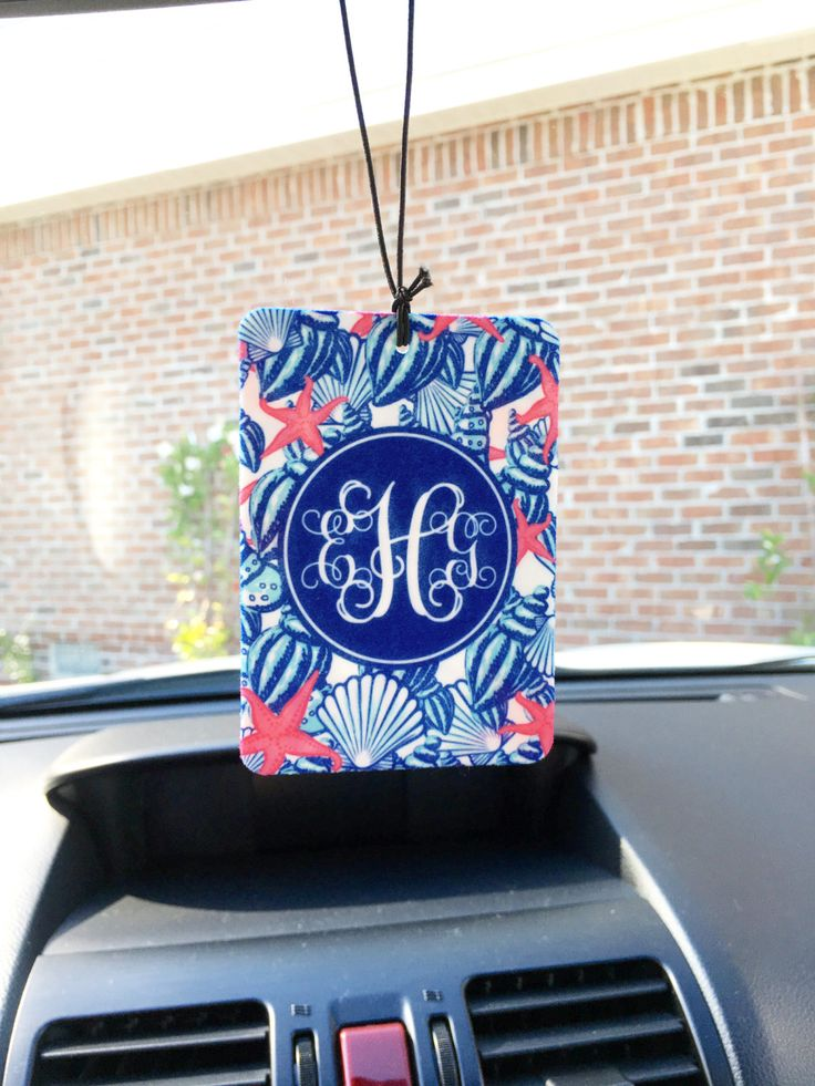 Air Freshener Car Monogrammed Auto Air Freshner Personalized Lilly Inspired Custom Designed Cute Car Accessories For Women Car Decor by ChicMonogram on Etsy