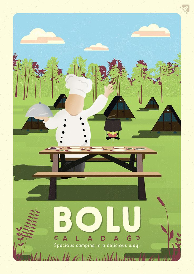 """This is for my Illustration lesson, final project; """"city, travel illustration poster"""" I choose Bolu for this work. It's the one of the cities of Turkey, well-known for camping, amazing chefs and cooking schools. So, I mixed them up :) As you can see, I love using textures in my illustrations.   Hope you like it!"""