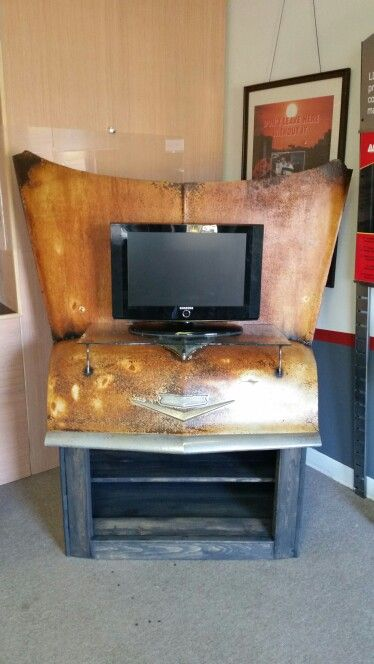56 Chevy hood entertainment center FOR SALE Bent Wrench salvage designs.