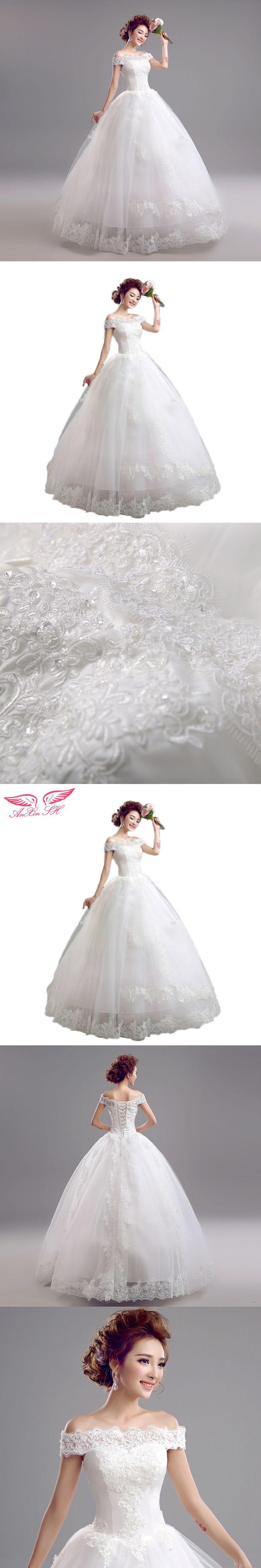 AnXin SH Korean bride lace wedding dress shoulder strap slim word  Princess wedding Dress New Winter 5956