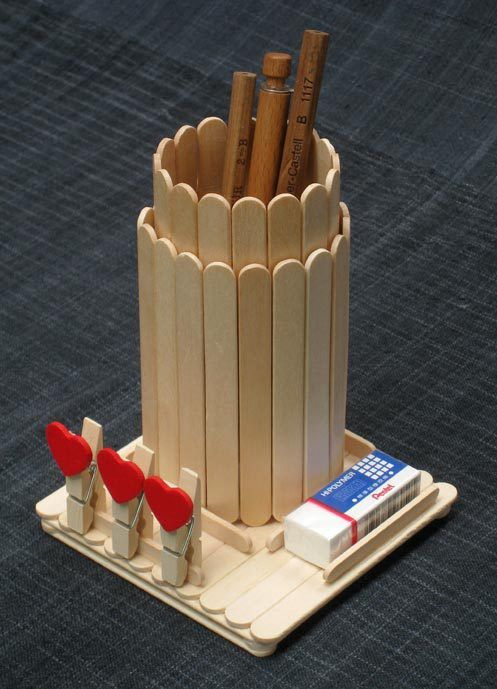 Popsicle stick pencil holder (no step-by-step) {I use PVA (polyvinyl acetate) or white wood glue as we call it here, it's the best for wood and dries transparent. The tubes were held together with sticky tape not glue. Just lay 16 sticks side by side and use 3 pieces of sticky tape to hold them together, the larger tube has 18 sticks. The base and small tube uses 9.5 cm sticks and the large tube uses 11.5 cm sticks. }