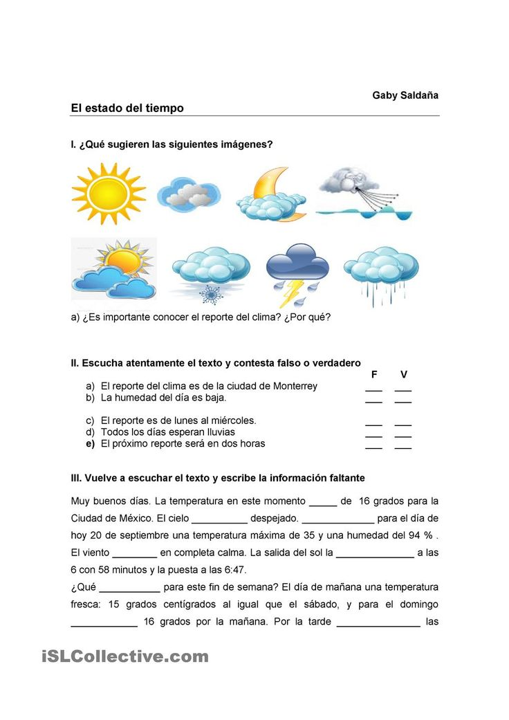 the weather spanish instruction materials spanish worksheets spanish language learning. Black Bedroom Furniture Sets. Home Design Ideas