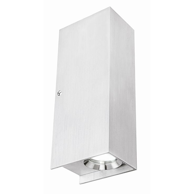 Brilliant Lighting Bialetti Up/Down Exterior Wall Light Brushed Aluminium