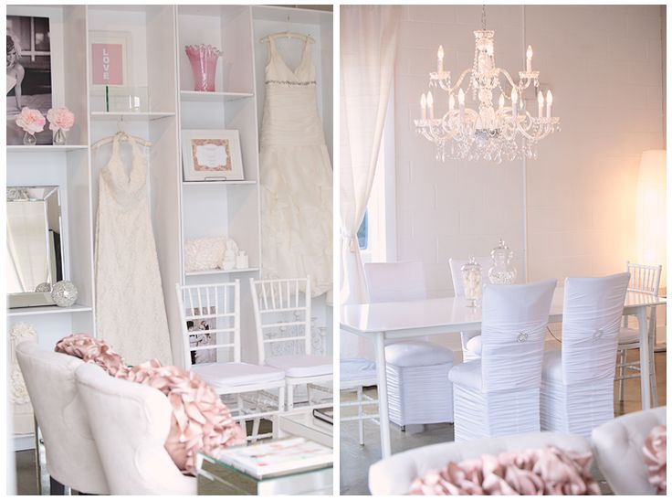 blush and white studio, office, photography space, wedding planning studio, display case, ruffled pillows copyright @Kristin Vining Photography @Weddings and the City