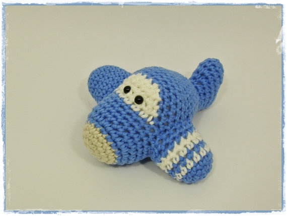 Amigurumi Baby Rattle Airplane Crochet Soft Toy By