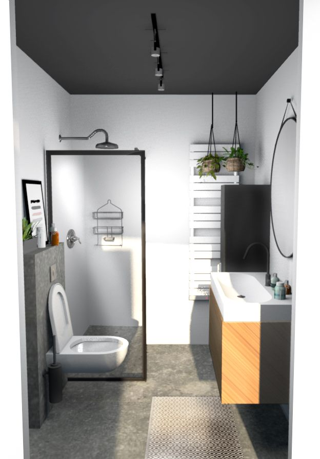 badkamer van beton tegel zwart plafond houten onderkast locker zwarte accessoires
