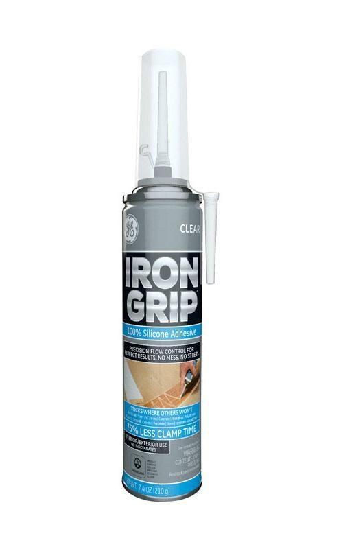 GE M90077 Iron Grip Silicone Adhesive, Clear, 7.4 Oz