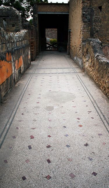 Csa dei Cervi, Herculaneum. House of the Deer or House of the Stags named for two statues of deer being attacked by dogs in the extensive gardens. It is the grandest of the mansions so far excavated with 2 stories overlooking the sea. Example of mosaic line corridor.