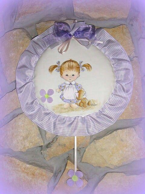 Fiocco nascita dipinto a mano glicine