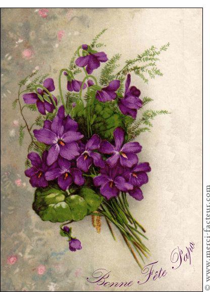 Carte Bonne f�te papa et fleurs violettes pour envoyer par La Poste, sur Merci-Facteur !