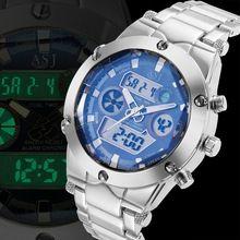 2015 relojes de hombre, acero inoxidable analógico digital del reloj del deporte, impermeable Dual Time Zones alarma cronógrafo Quarzt relojes de pulsera(China (Mainland))